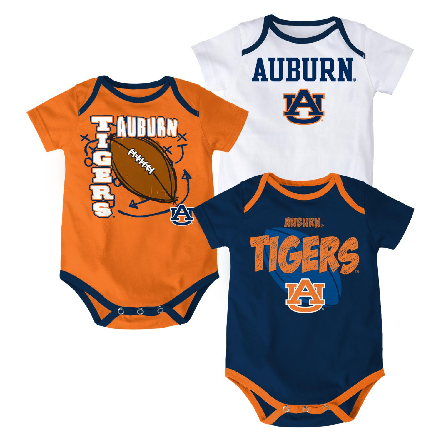 "Auburn Tigers NCAA ""3 Point Spread"" Newborn 3 Pack Bodysuit Creeper Set"