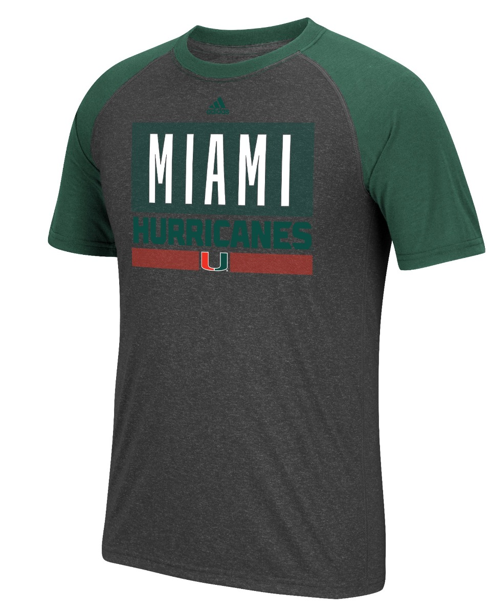 "Miami Hurricanes Adidas NCAA ""Linear Stack"" Men's Climalite S/S T-Shirt"