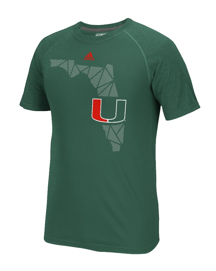 "Miami Hurricanes Adidas NCAA ""Geometric"" Men's Climalite S/S T-Shirt"