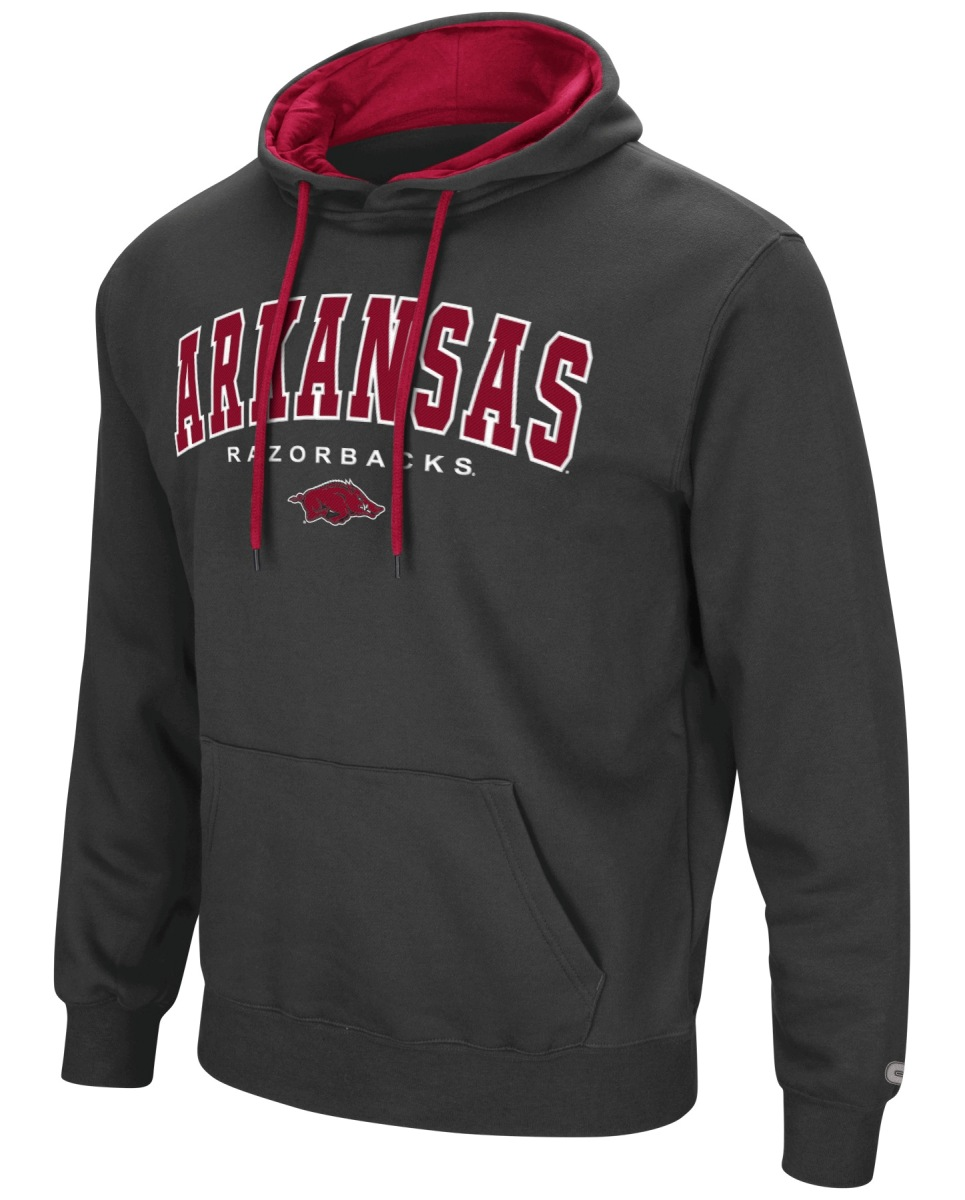 "Arkansas Razorbacks NCAA ""End Zone"" Pullover Hooded Men's Sweatshirt - Charcoal"