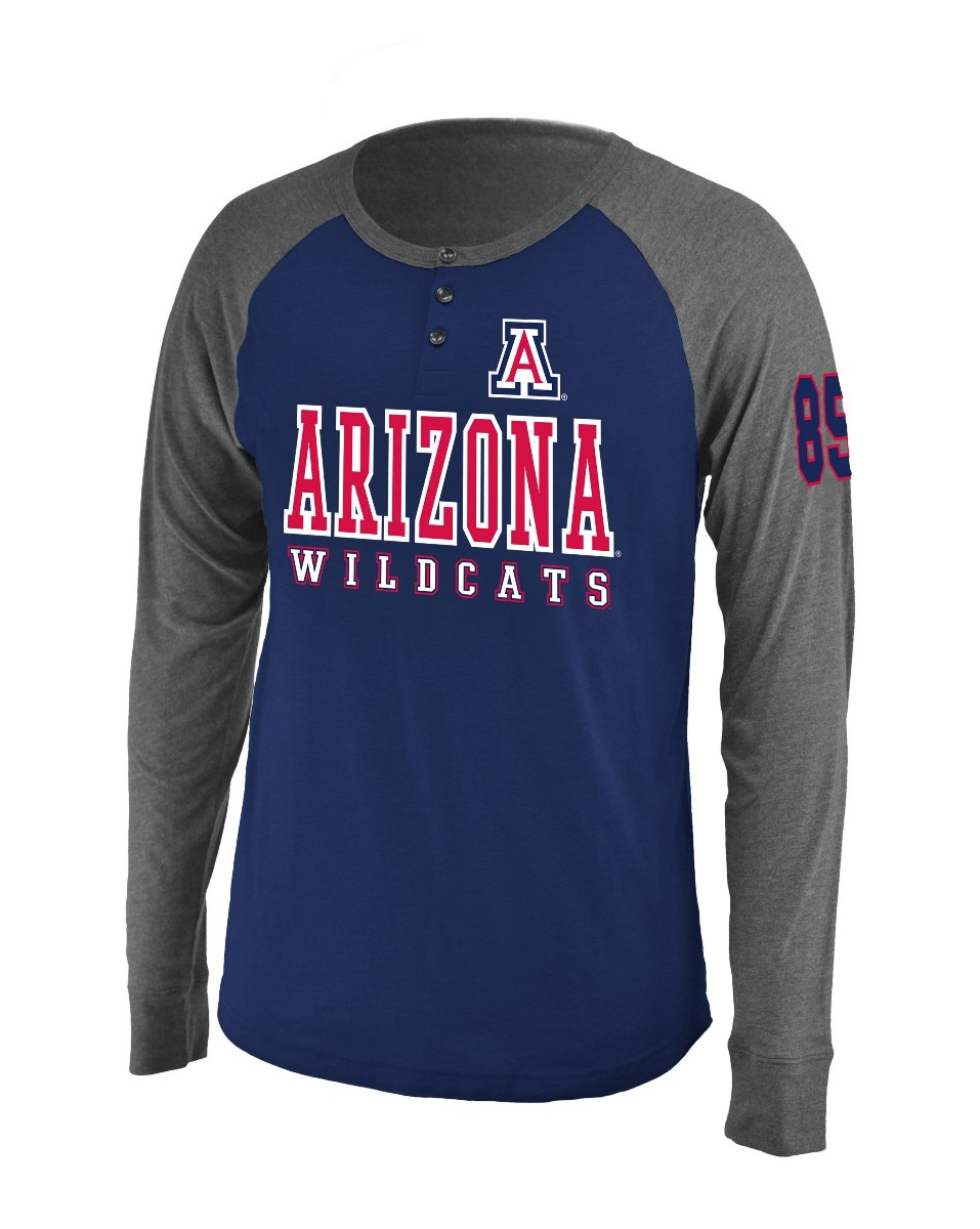 "Arizona Wildcats NCAA ""Spotter"" Long Sleeve Dual Blend Men's Henley Shirt"