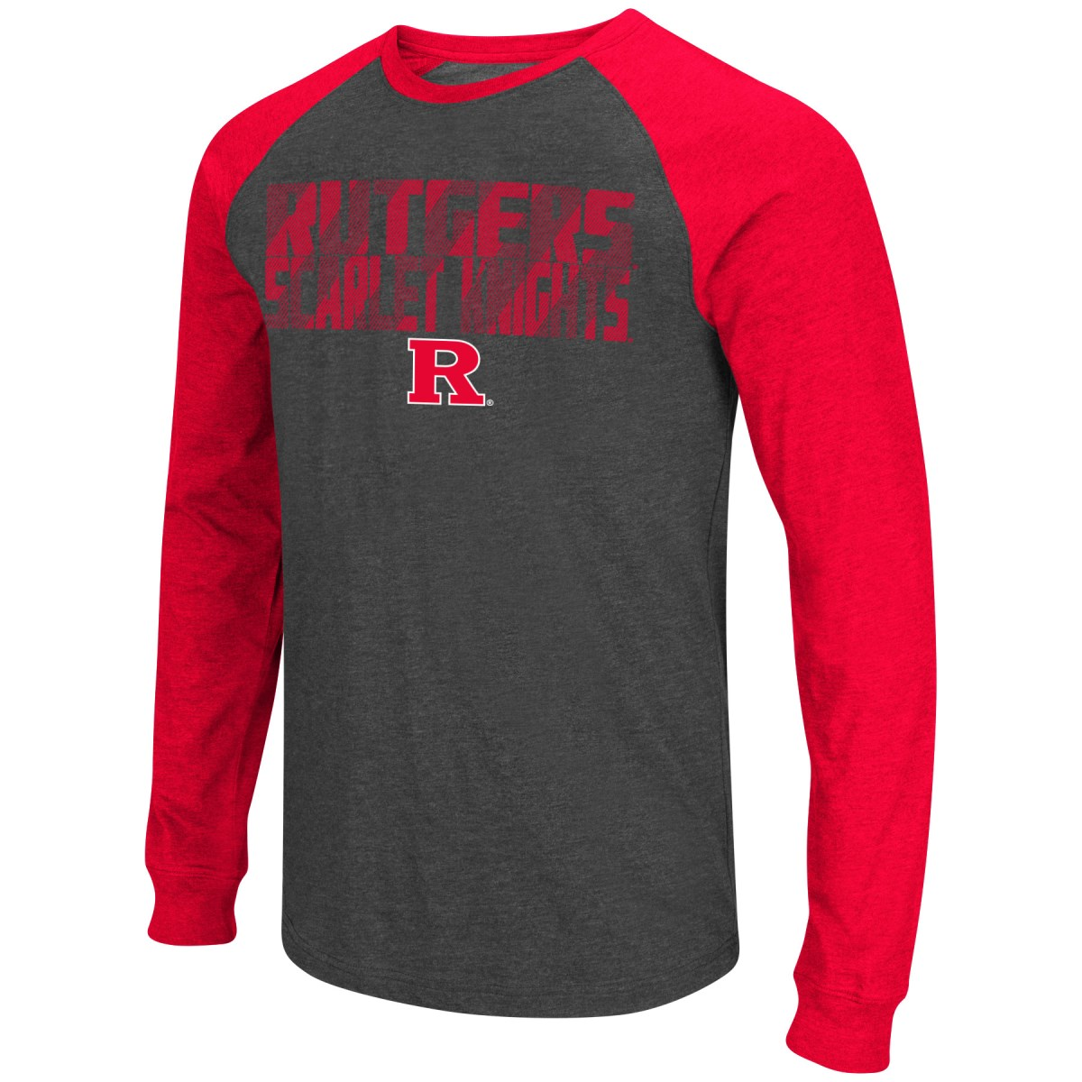 "Rutgers Scarlet Knights NCAA ""Olympus"" Long Sleeve Raglan Shirt - Charcoal"