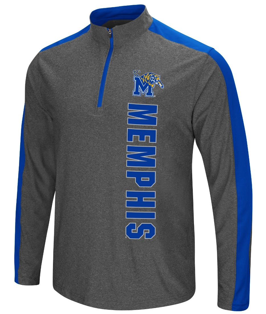 "Memphis Tigers NCAA ""Splitter"" 1/4 Zip Pullover Men's Charcoal Wind Shirt"