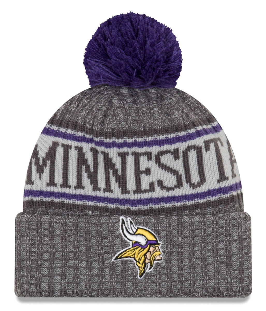 "Minnesota Vikings New Era 2018 NFL ""Sport Knit"" Cuffed Hat with Pom - Graphite"