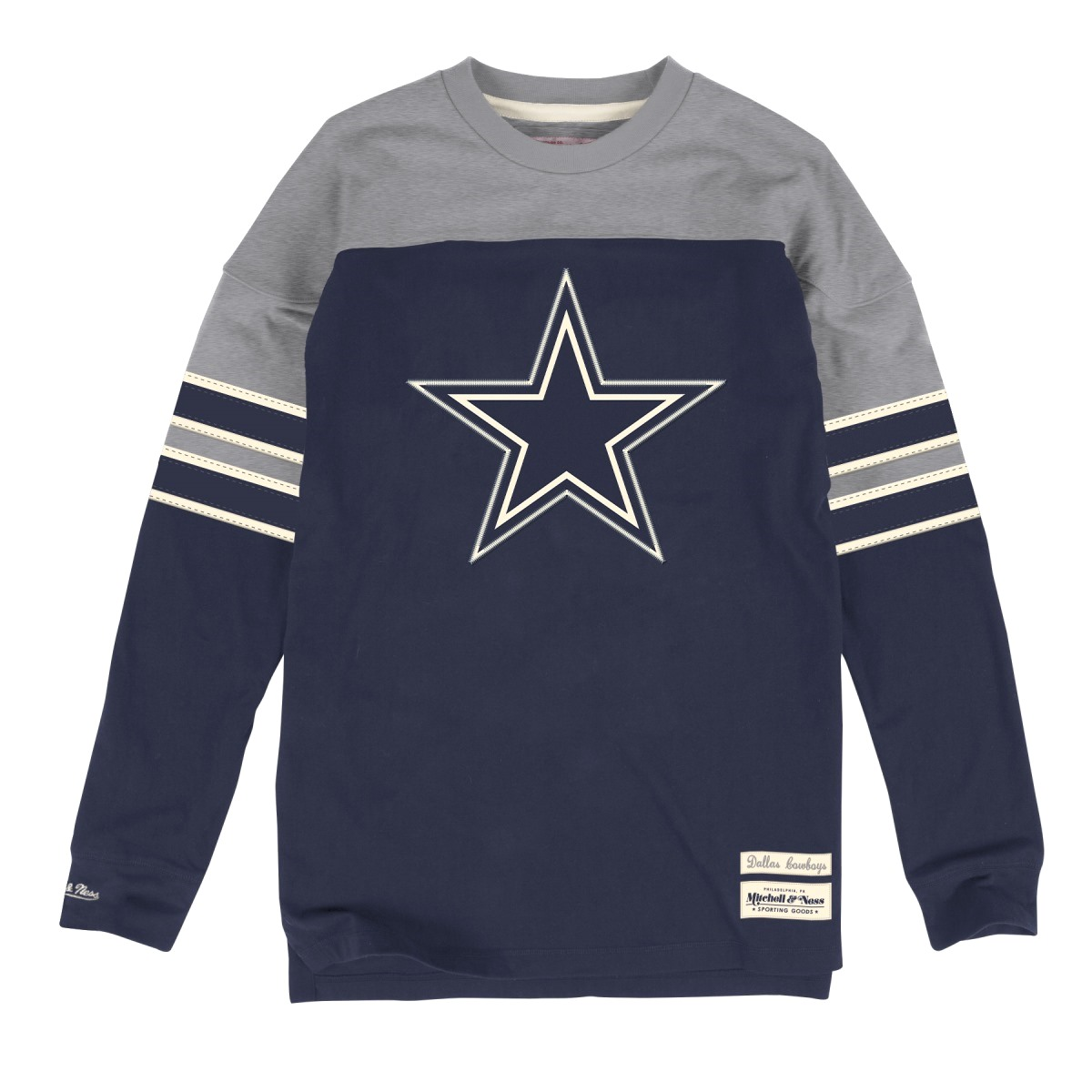"Dallas Cowboys Mitchell & Ness NFL ""Pump"" Long Sleeve Crew Shirt"