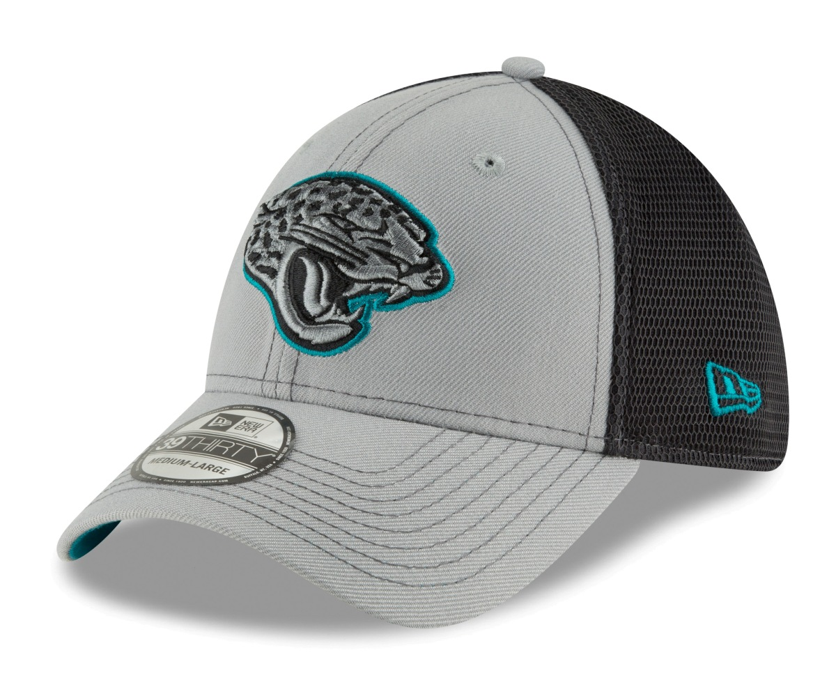 "Jacksonville Jaguars New Era NFL 39THIRTY ""2T Sided"" Flex Fit Meshback Gray Hat"