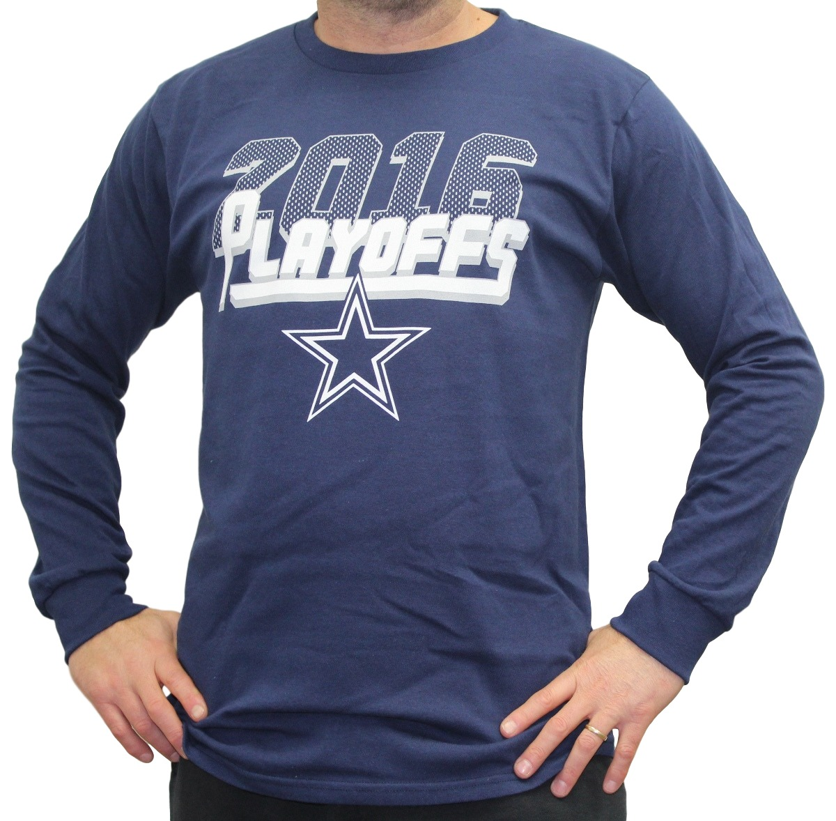 Dallas Cowboys Majestic 2016 NFL Playoffs Men's Long Sleeve Navy T-Shirt