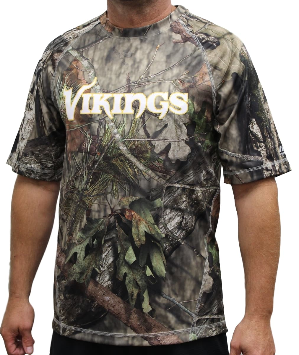 "Minnesota Vikings Majestic NFL ""In The Woods"" Men's Camo Short Sleeve T-Shirt"
