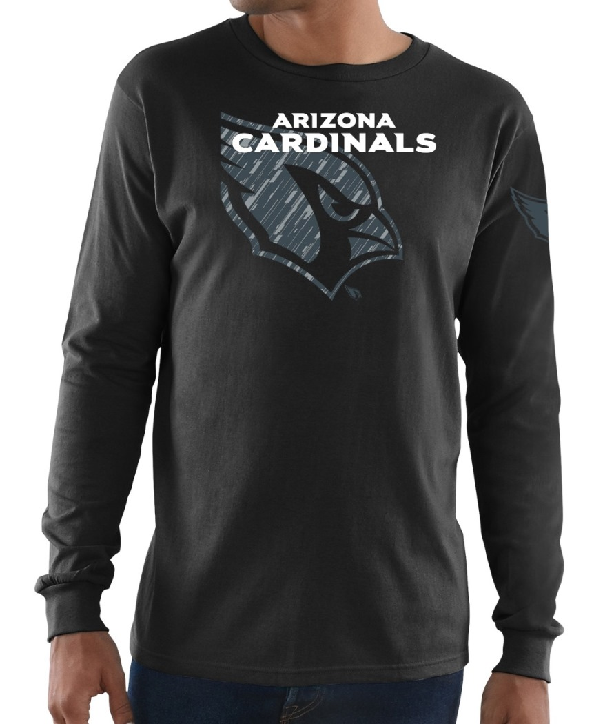 "Arizona Cardinals Majestic NFL ""Elite Reflective"" Men's L/S Black T-Shirt"