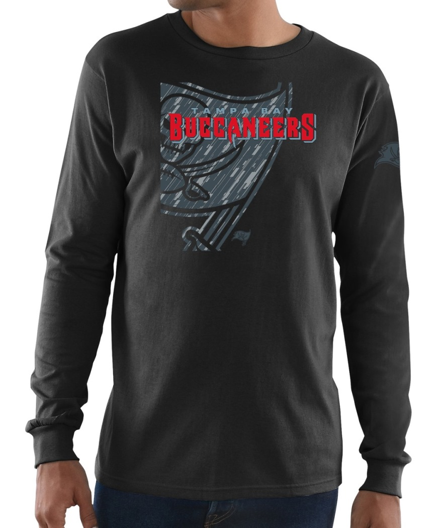 "Tampa Bay Buccaneers Majestic NFL ""Elite Reflective"" Men's L/S Black T-Shirt"