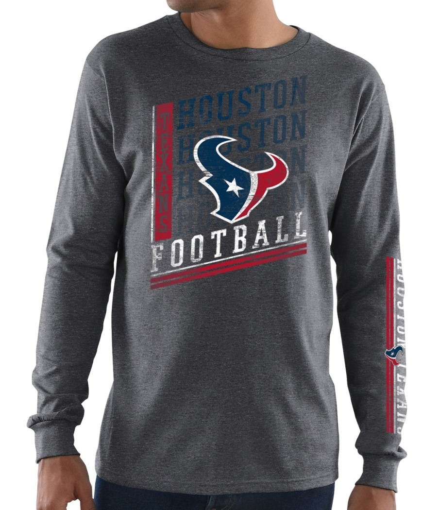 "Houston Texans Majestic NFL ""Dual Threat"" Men's Long Sleeve Charcoal T-Shirt"