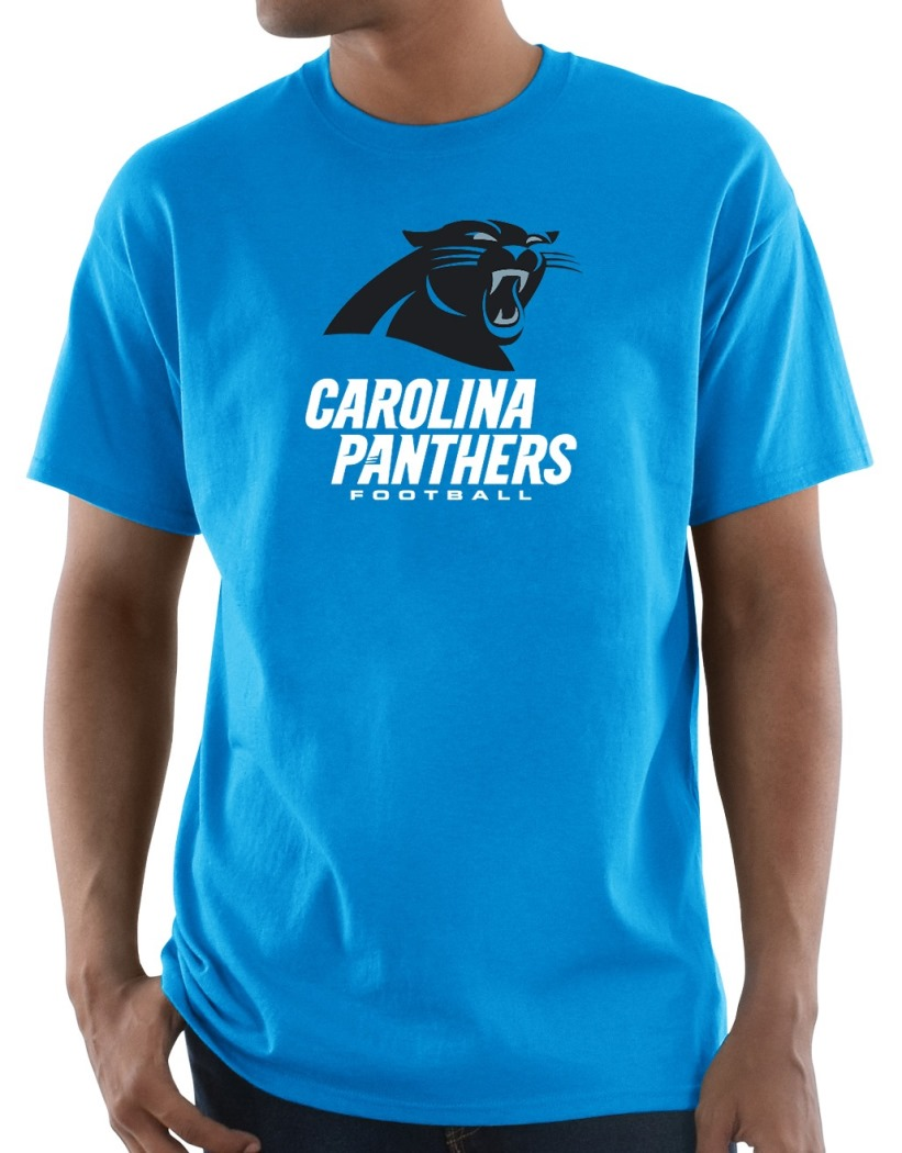 "Carolina Panthers Majestic NFL ""Critical Victory 3"" Men's S/S T-Shirt - Blue"