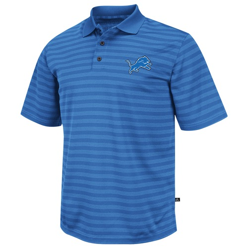 Detroit Lions Majestic FanFare IV Blue Clima Cool Striped Polo Shirt