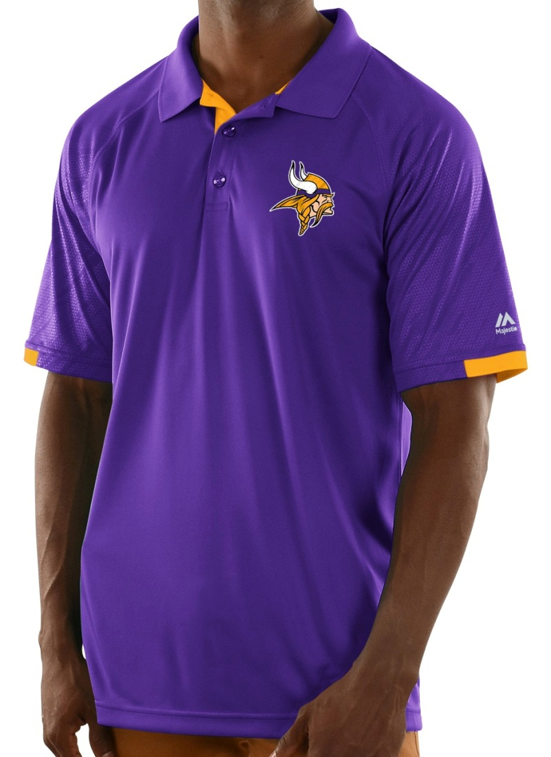 "Minnesota Vikings Majestic NFL ""Club Level"" Men's Short Sleeve Polo Shirt"