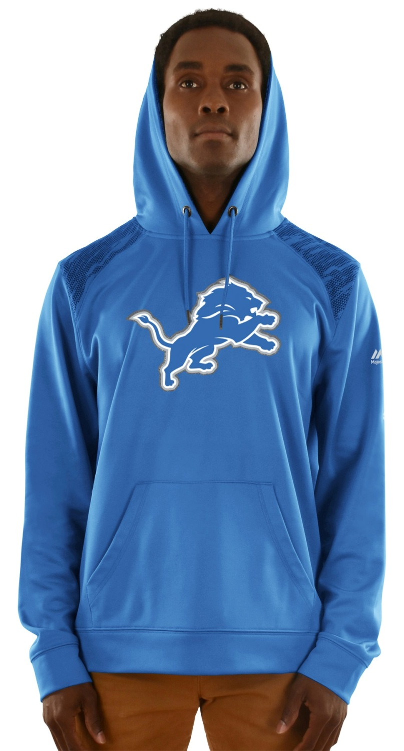 "Detroit Lions Majestic NFL ""Armor 3"" Men's Pullover Hooded Sweatshirt"
