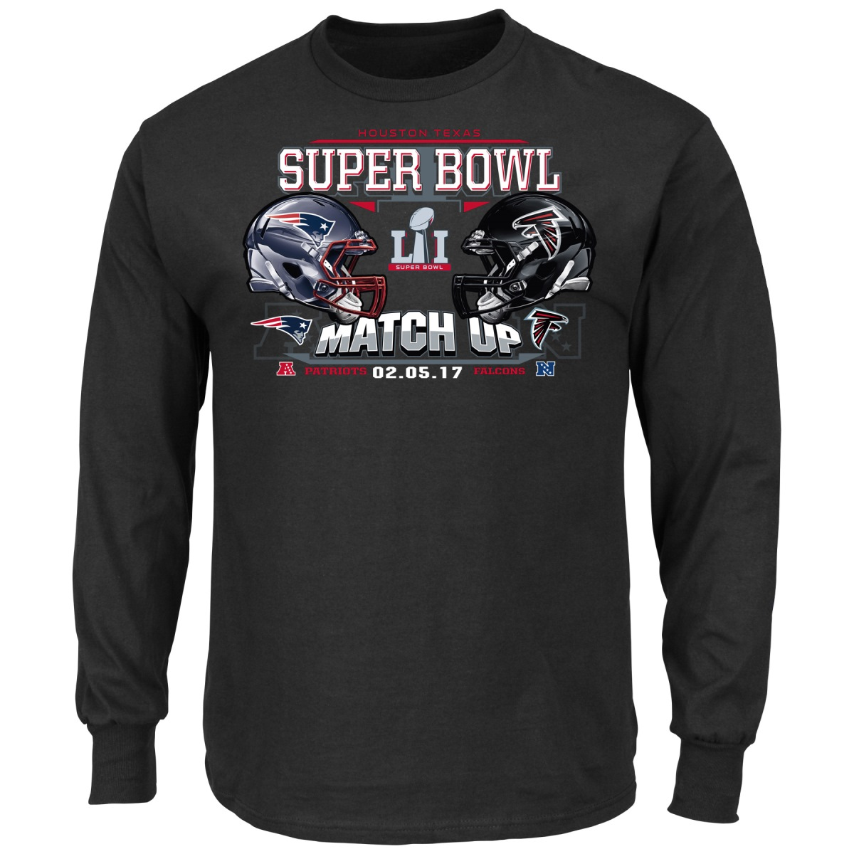 Atlanta Falcons vs New England Patriots NFL Super Bowl 51 Helmet L/S T-Shirt