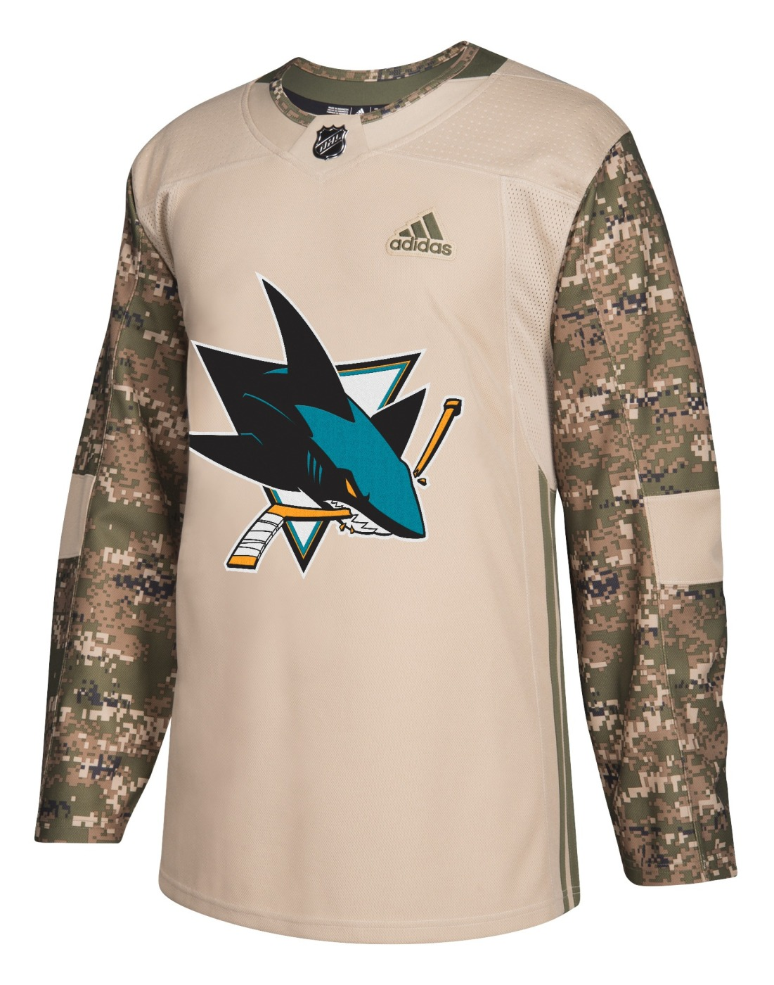 San Jose Sharks Adidas NHL Edge Camouflage Pre-Game Authentic Warm Up Jersey
