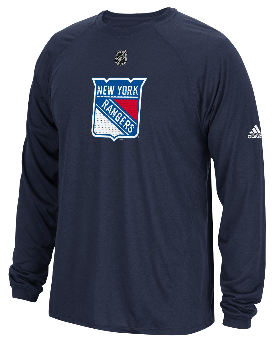 "New York Rangers Adidas NHL ""Primary Position"" Climalite Long Sleeve T-Shirt"