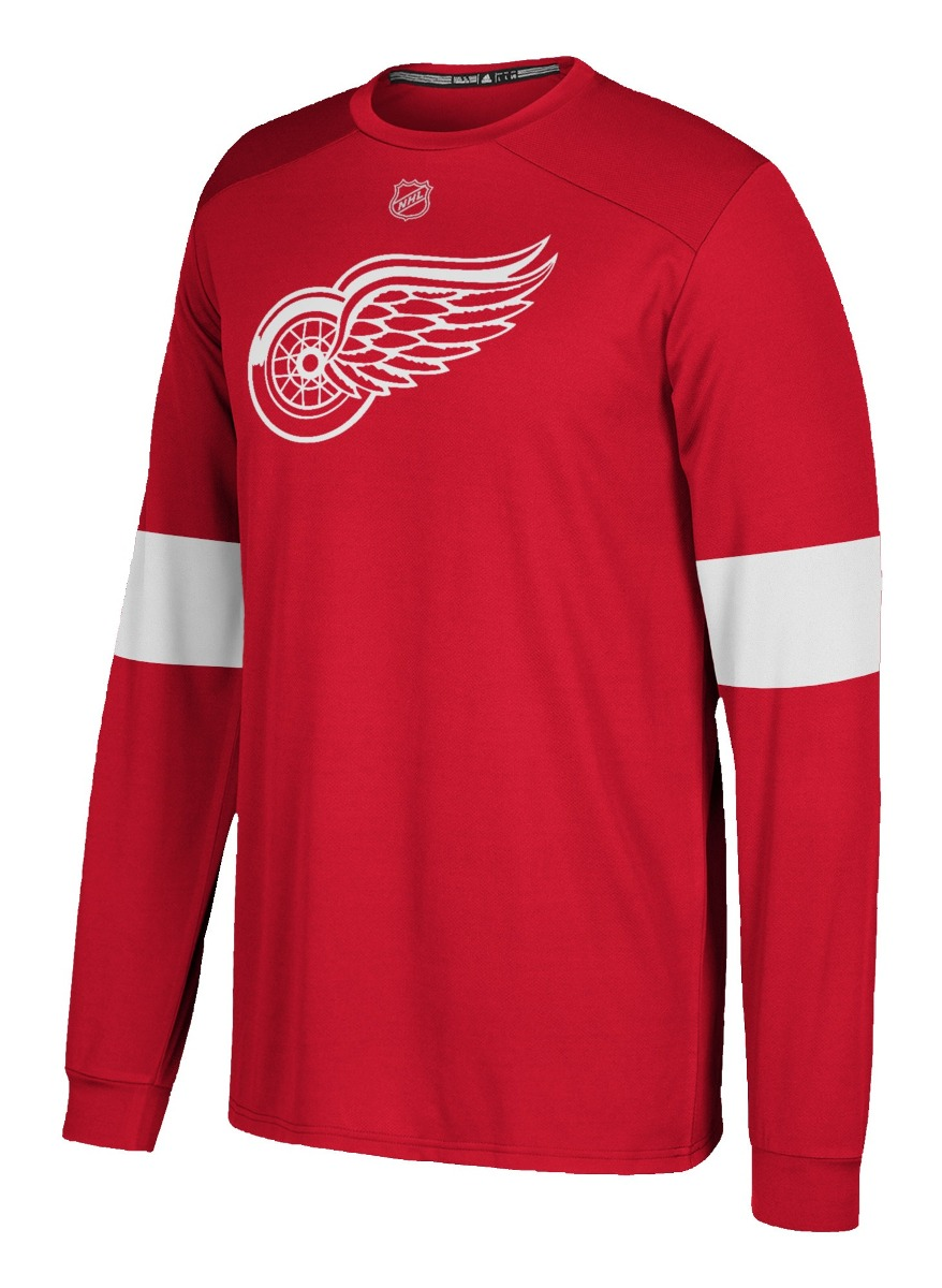 "Detroit Red Wings Adidas NHL ""Silver"" Men's Long Sleeve Jersey Shirt"