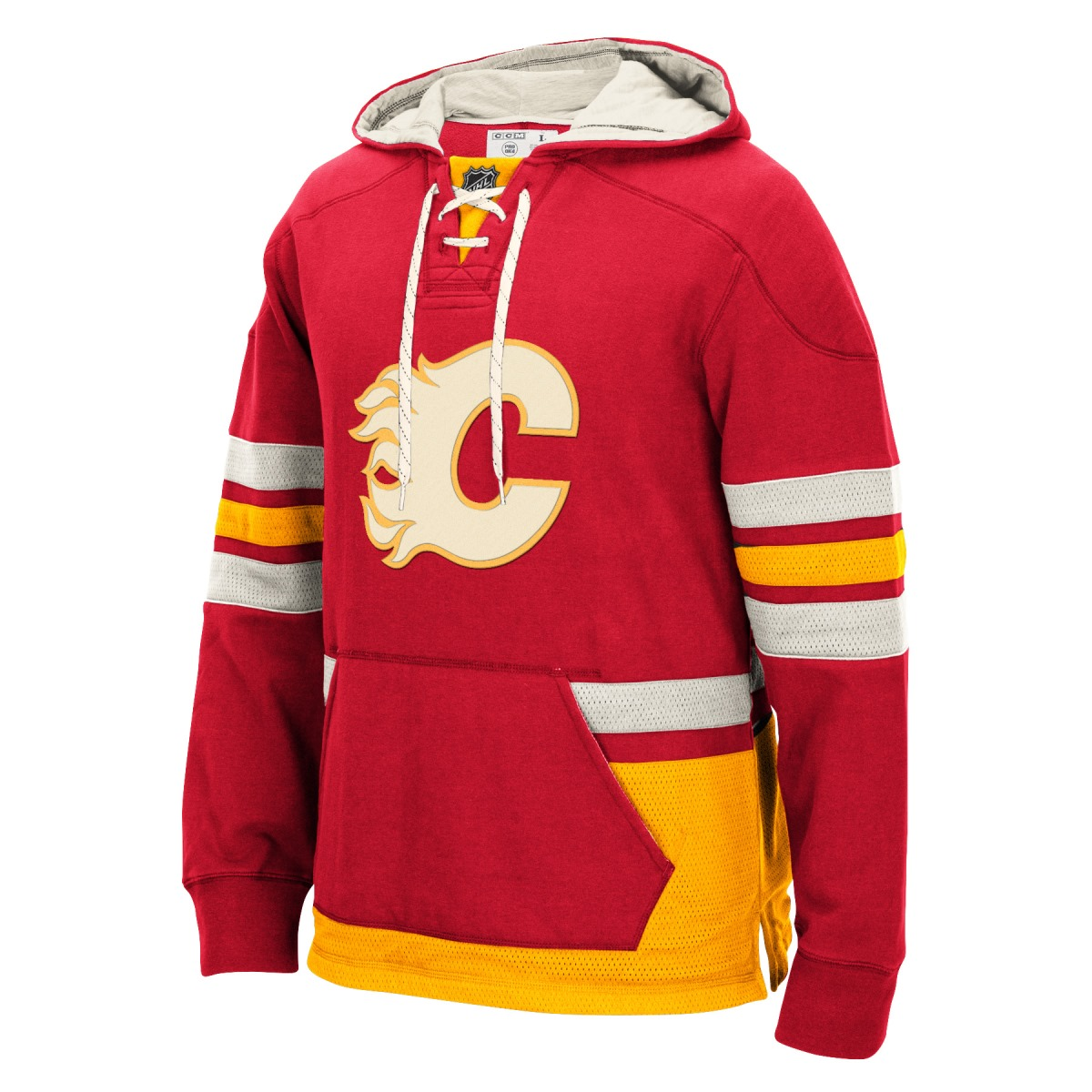 "Calgary Flames Men's NHL CCM ""Lace Em Up"" Pullover Hooded Sweatshirt - Red"
