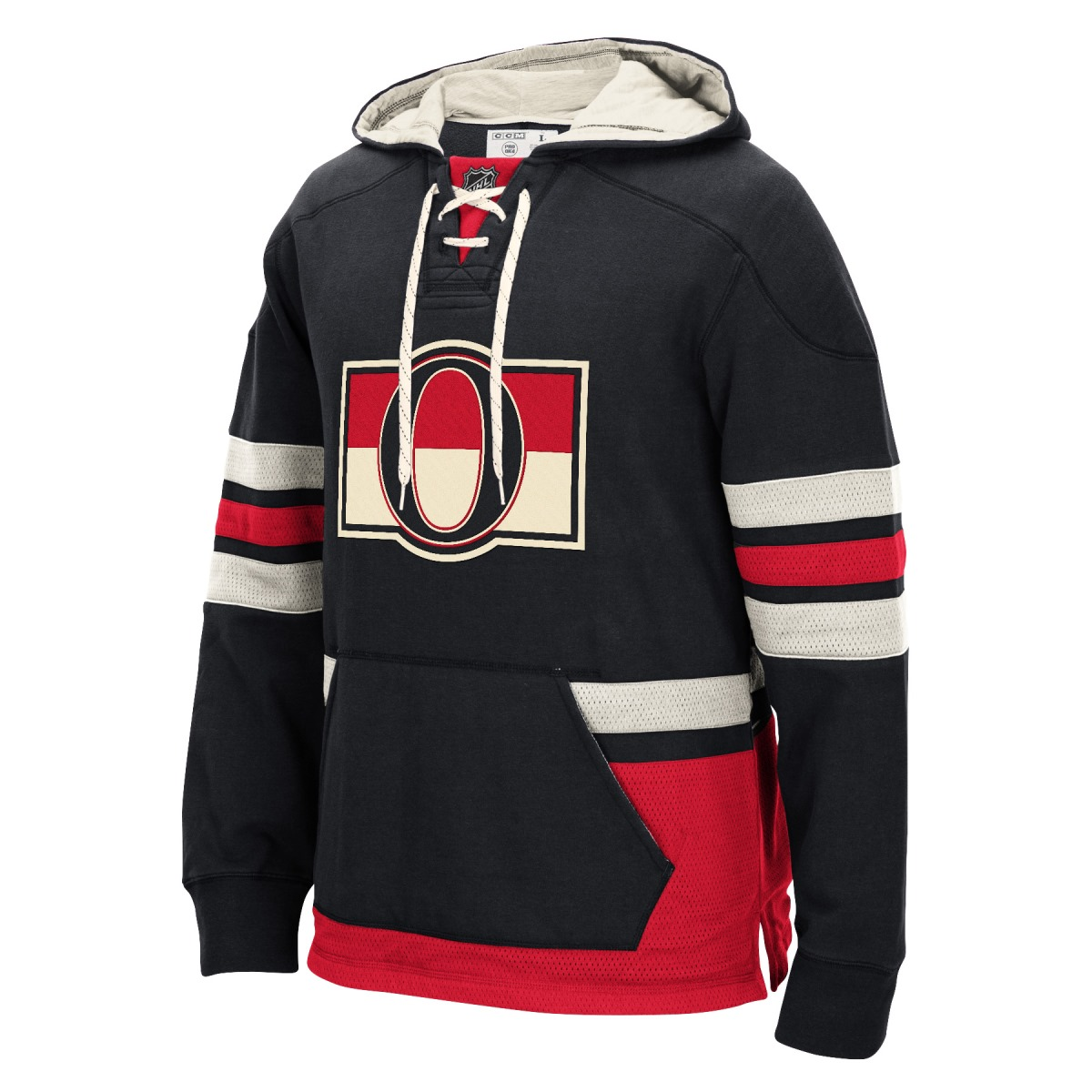 "Ottawa Senators Men's NHL CCM ""Lace Em Up"" Pullover Hooded Sweatshirt - Black"