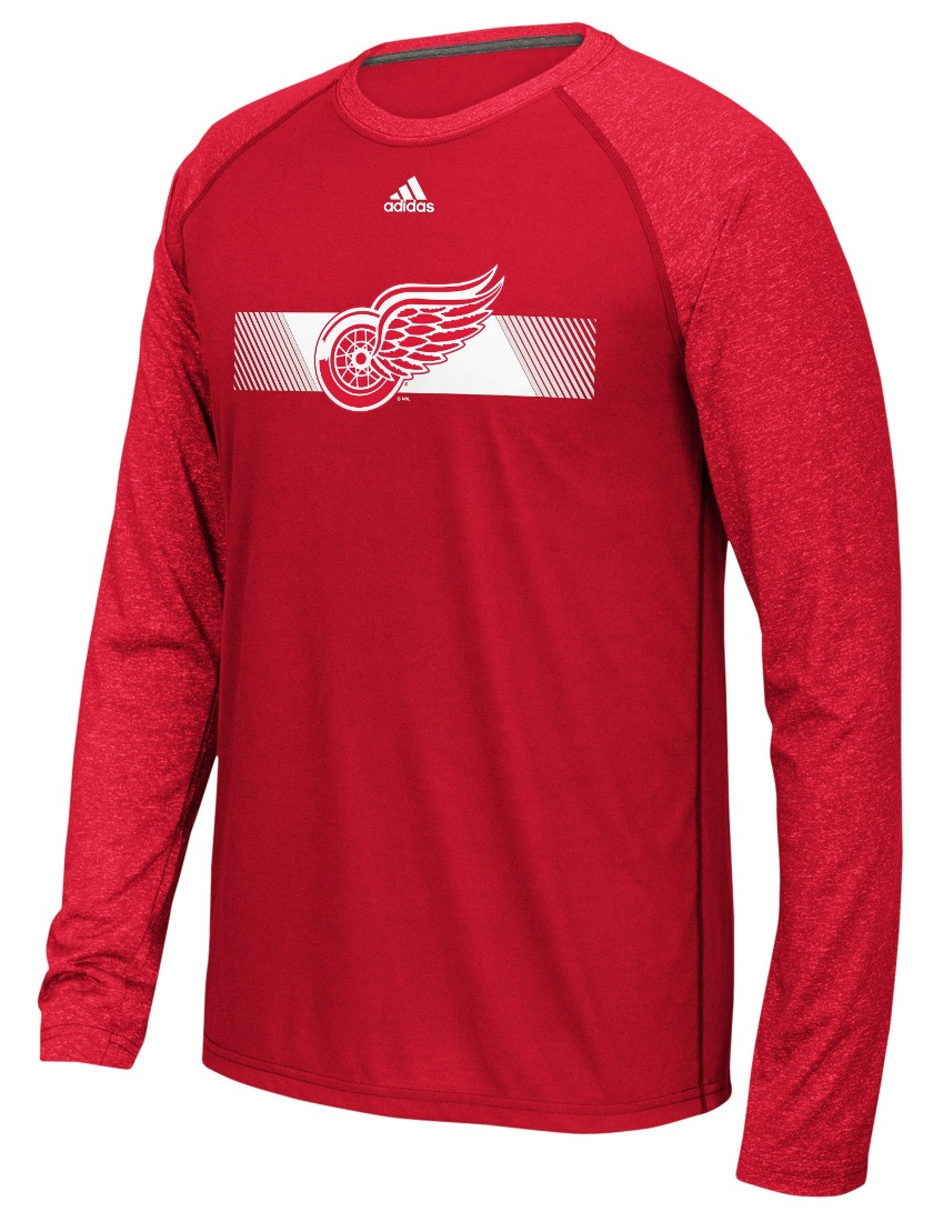 "Detroit Red Wings Adidas NHL ""Resurface"" Men's Climalite L/S T-Shirt"