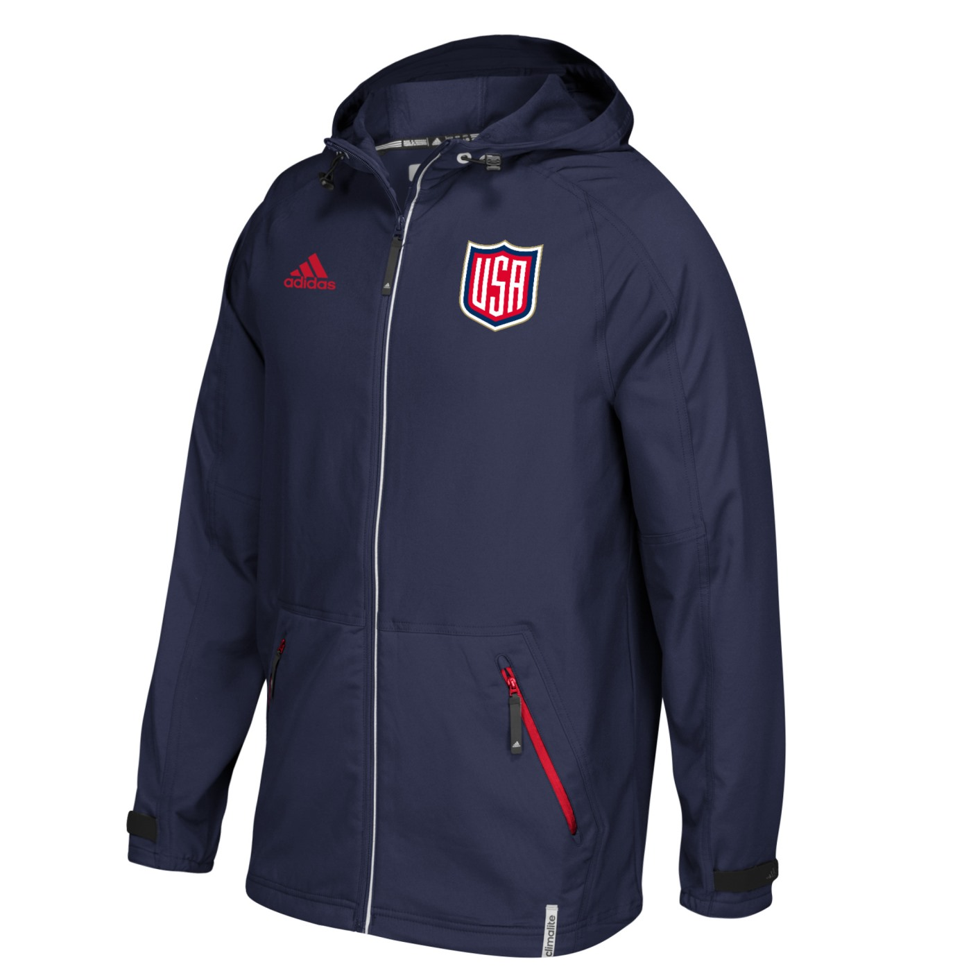 Team USA 2016 World Cup of Hockey Adidas Men's Full Zip Woven Hooded Jacket