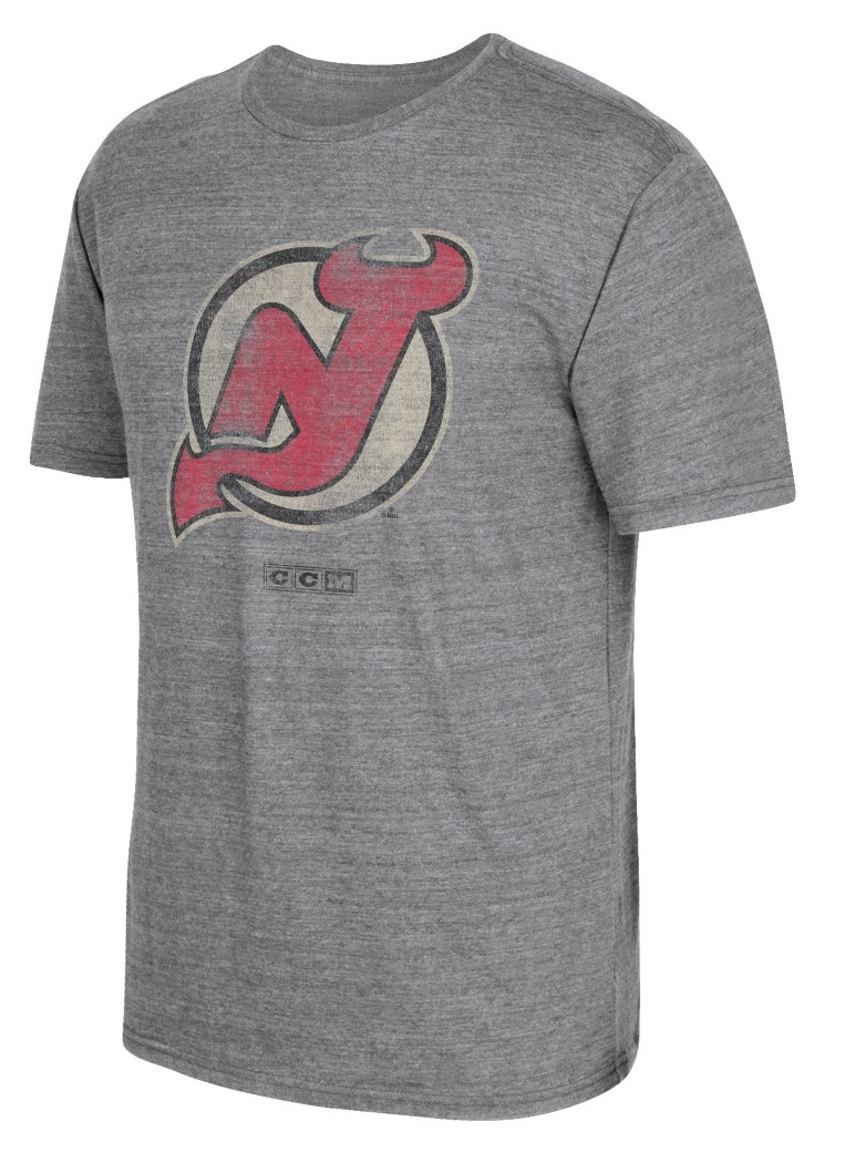 "New Jersey Devils CCM ""Bigger Logo"" Distressed Premium Tri-Blend T-Shirt"