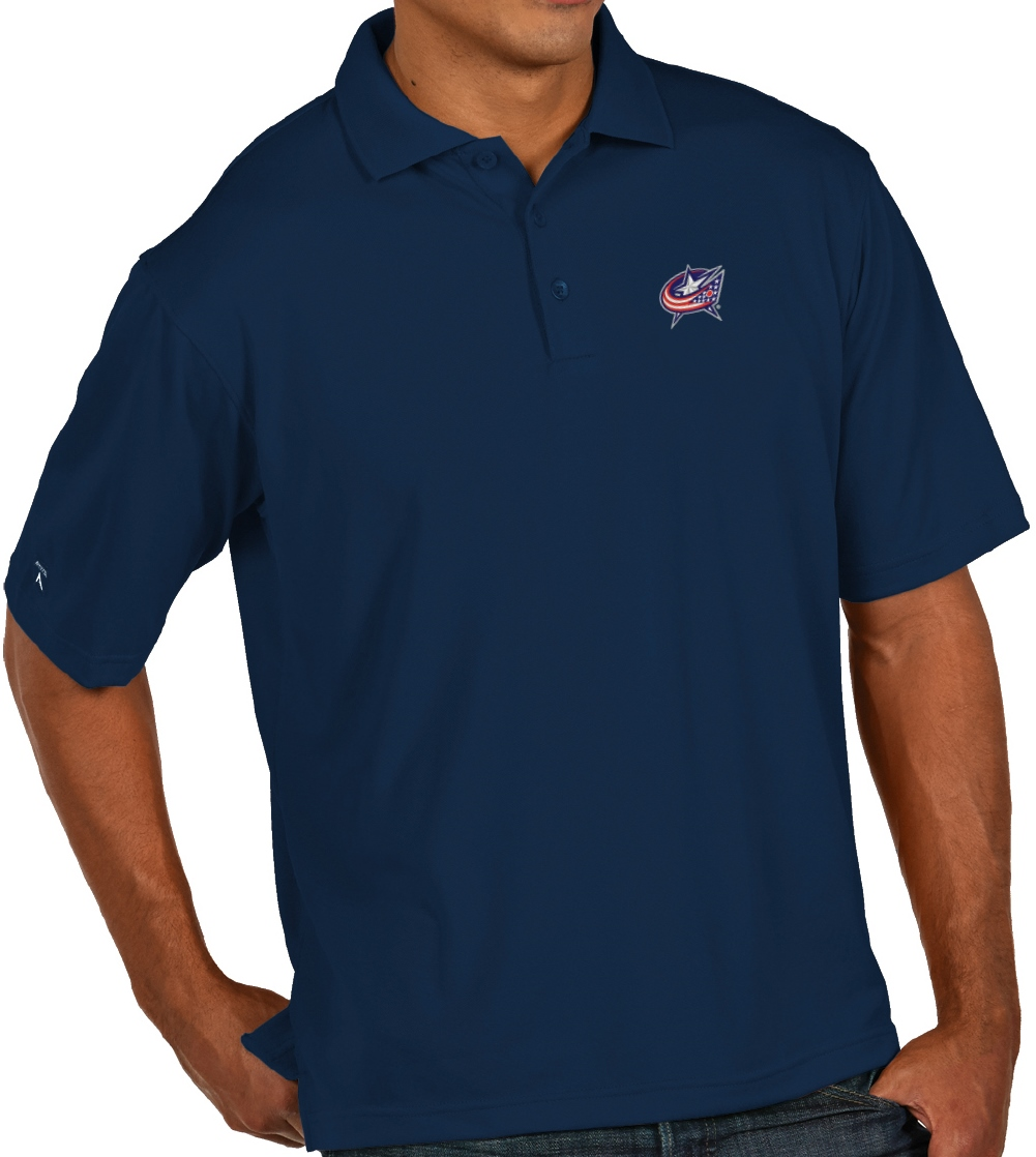 "Columbus Blue Jackets Antiqua NHL ""Pique"" Performance Polo Shirt - Navy"