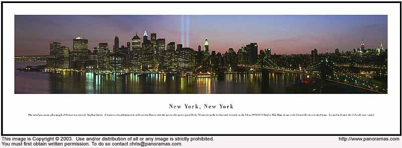 New York WTC Lights 13.5x40 Panoramic Photo