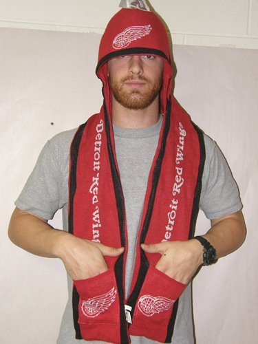 Detroit Red Wings 2011 Team Stripe Hooded Knit Scarf w/ Pockets
