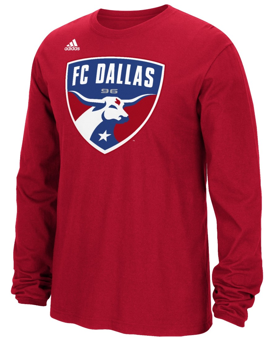 "FC Dallas Adidas MLS ""Logo Set"" Men's Long Sleeve T-Shirt"