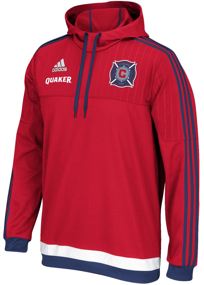 Chicago Fire Adidas MLS Authentic On Field Pullover Hooded Sweatshirt