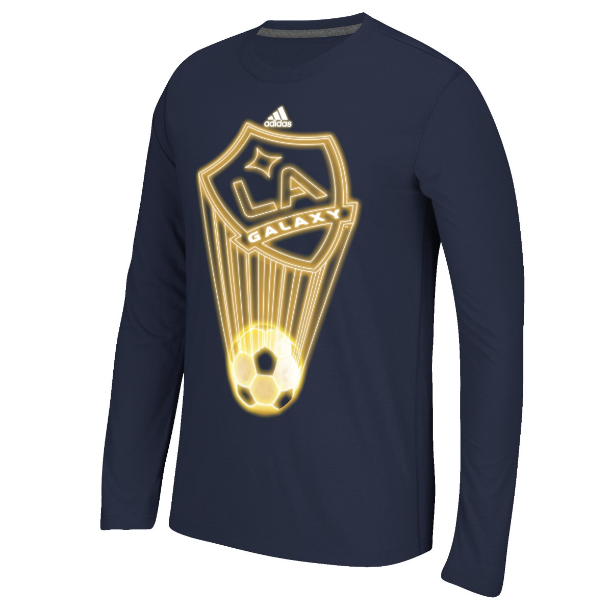 "Los Angeles Galaxy Adidas MLS ""Glow Explode"" Men's Climalite Long Sleeve T-Shirt"