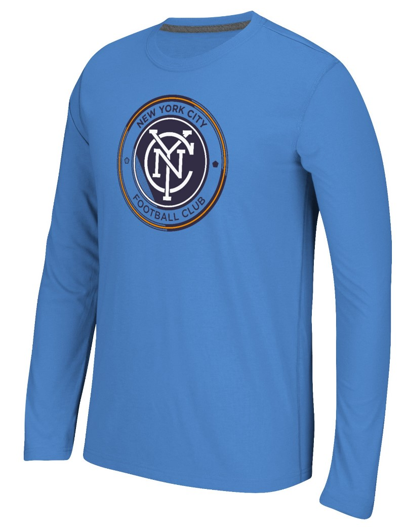 "New York City FC Adidas MLS ""Fullback"" Men's Climalite Long Sleeve T-Shirt"