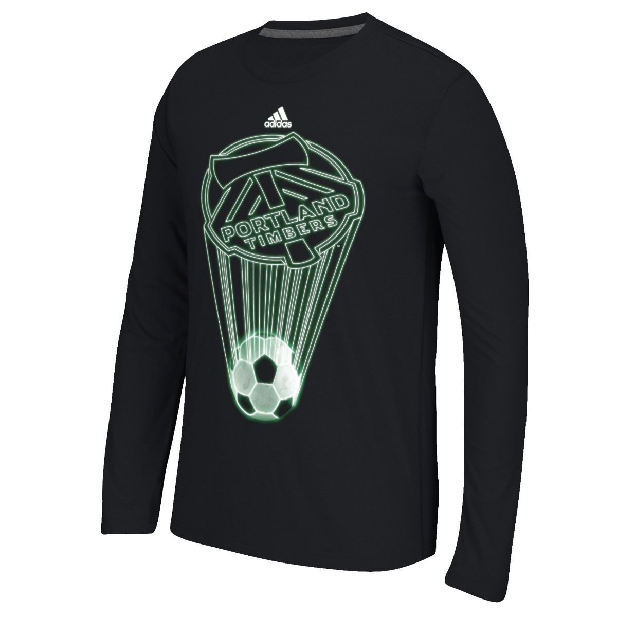 "Portland Timbers Adidas MLS ""Glow Explode"" Men's Climalite Long Sleeve T-Shirt"