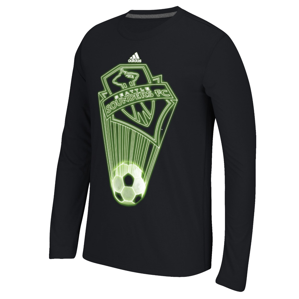 "Seattle Sounders Adidas MLS ""Glow Explode"" Men's Climalite Long Sleeve T-Shirt"