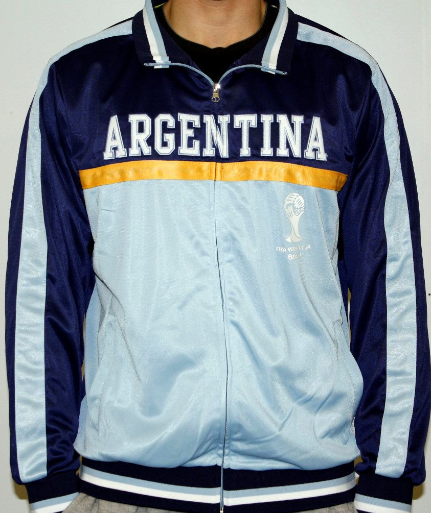 Argentina FIFA 2014 World Cup Soccer Embroidered Track Jacket