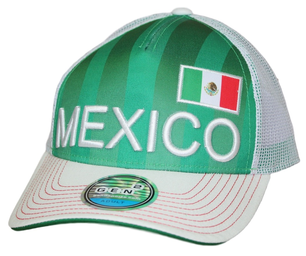 "Team Mexico World Cup Soccer Federation ""Jersey Hook"" Structured Mesh Back Hat"