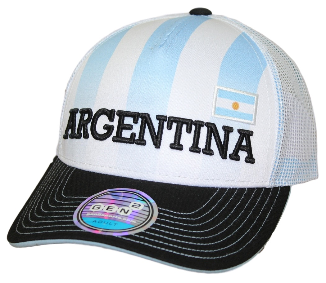 Team Argentina World Cup Soccer Federation Jersey Hook Structured Mesh Back Hat