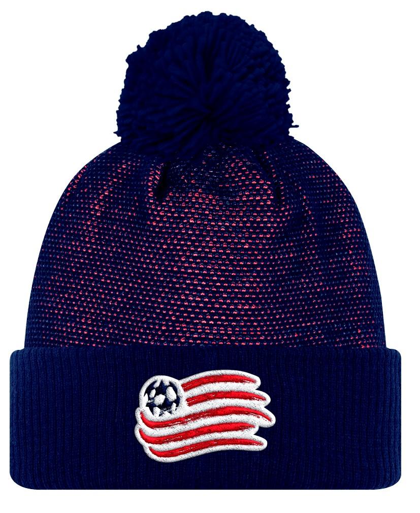 New England Revolution Adidas MLS 2017 Authentic Cuffed Knit Hat with Pom