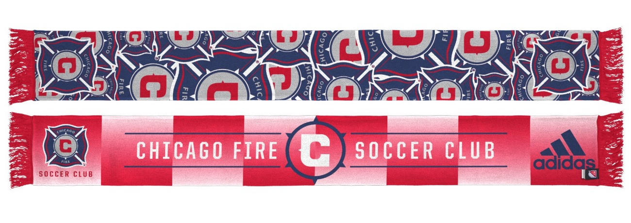 "Chicago Fire Adidas MLS ""Repeating Logo"" Polyester Team Scarf"