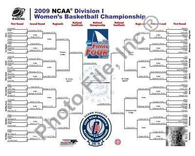 Connecticut Huskies 2009 NCAA Women's Champs Bracket 8x10