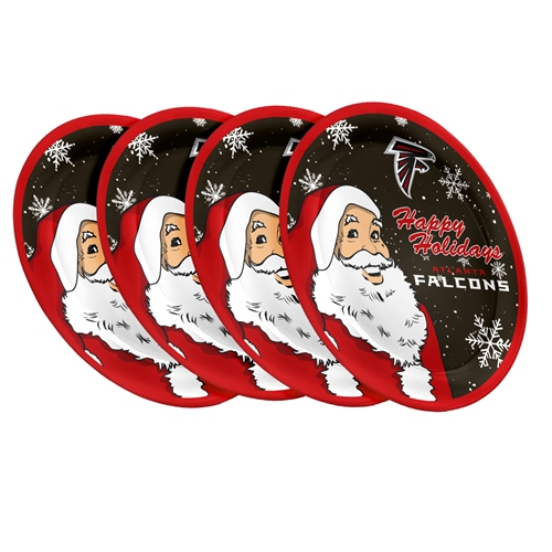 "Atlanta Falcons NFL Holiday 10"" Plastic Plate - 4 Pack"