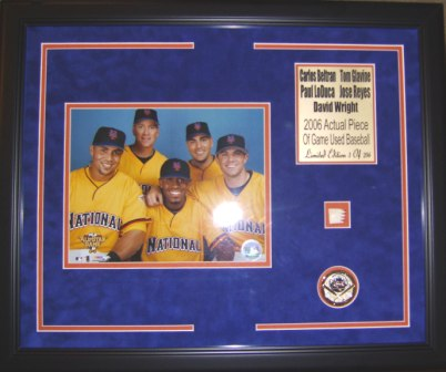 Mets 2006 All Stars 8x10 Framed w/Game Used Baseball