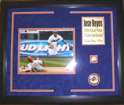 Jose Reyes Mets 8x10 Framed w/Game Used Baseball Piece