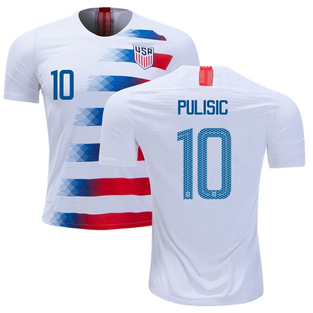 Majestic Athletic Men's Pulisic #10 USA Home 2018 White/Speed Red Jersey